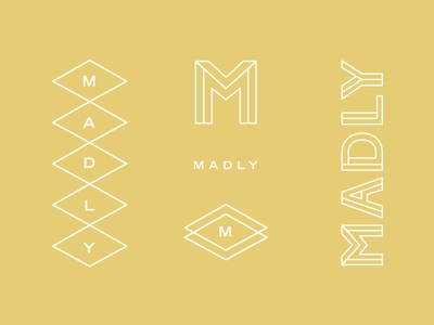 Madly Branding Concept linework triangle lettering typography custom m madly mark logo design logo