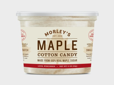 Maple Cotton Candy Label maple typography label design package design packaging cotton candy pure maple syrup pattern