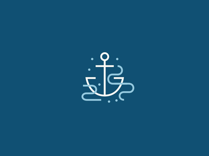 Anchor Mark nautical icon illustration linework movement waves ocean sea mark water anchor