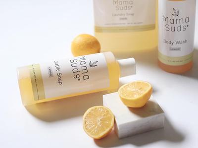 Mama Suds Packaging clean bodywash motherhood packagedesign label packaging label design natural soap mark logo branding