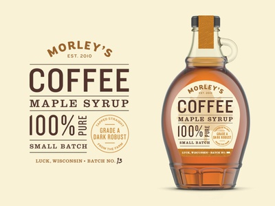 Coffee Maple Syrup Label logo design logo branding grid typography wisconsin label packaging label label design maple syrup maple coffee