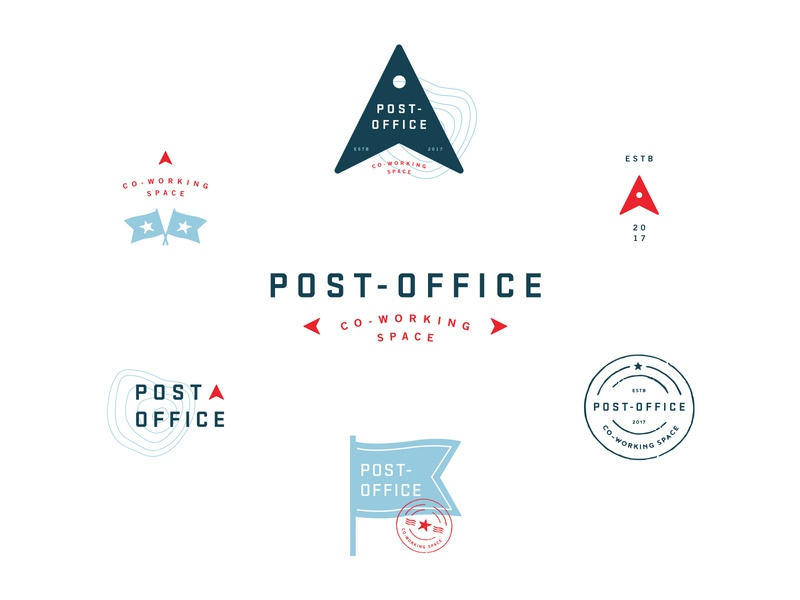 Post-Office Marks post office location topographic flag logo design logo travel icons marks branding