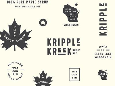 Kripple Kreek Branding maple leaf brand state leaf icon mark logo design logo wisconsin branding maple maple syrup