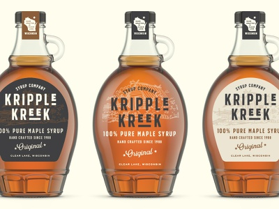 Kripple Kreek Labels wisconsin label mockup logo design logo label design packaging branding maple syrup maple leaf maple
