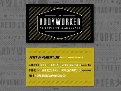 Bodyworker business cards by phalen reed dribbble final business card design for the bodyworker a massage therapy and wellness coaching business in minneapolis colourmoves