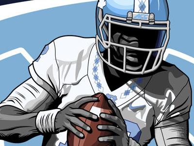 Marquise Williams Illustration college football illustrator tar heels illustration