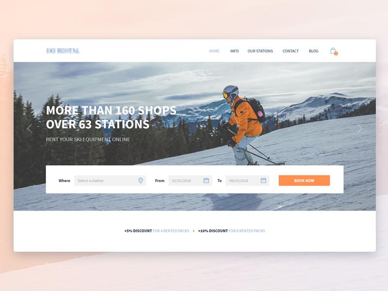 Ski Rental Project header web ux booking input snow hero ui website webdesign rental ski