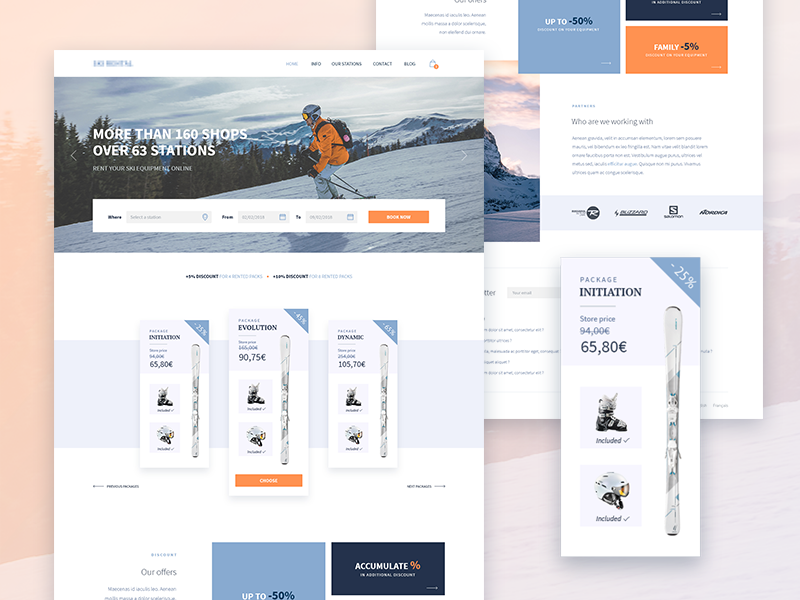 Ski Rental Project [Full] white landing website ui ux webdesign ski rental booking