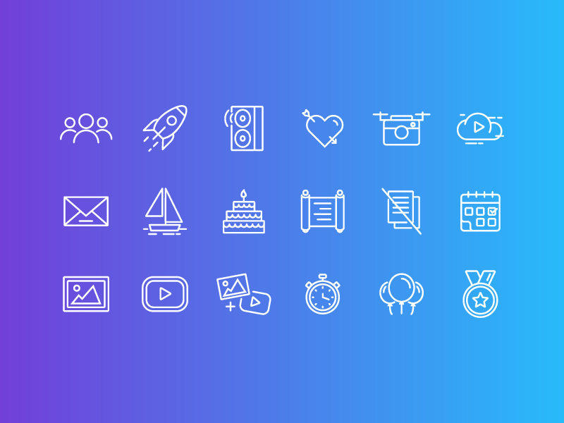 Drone service icon set music sport weeding event birthday video photo white linear icons icon gradient