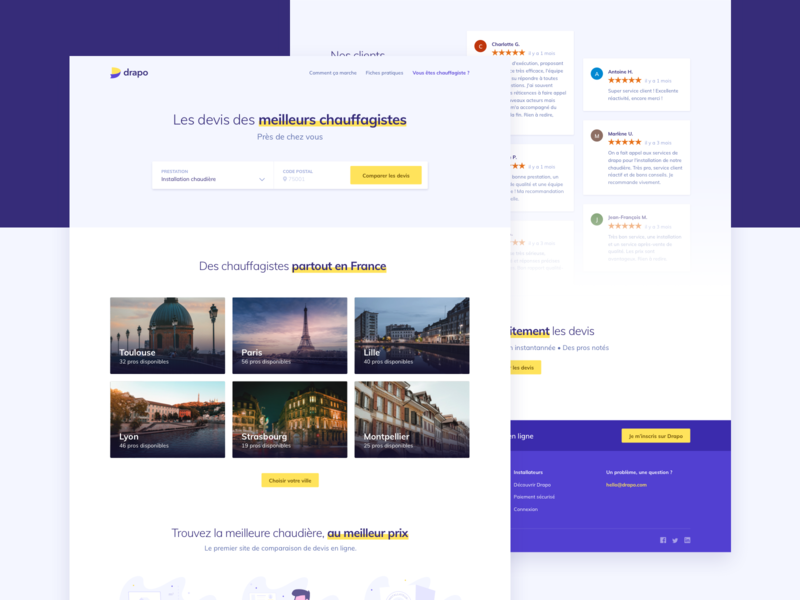 Marketplace landing - homepage ui white yellow purple market place heat webpage interface webdesign landing page landing