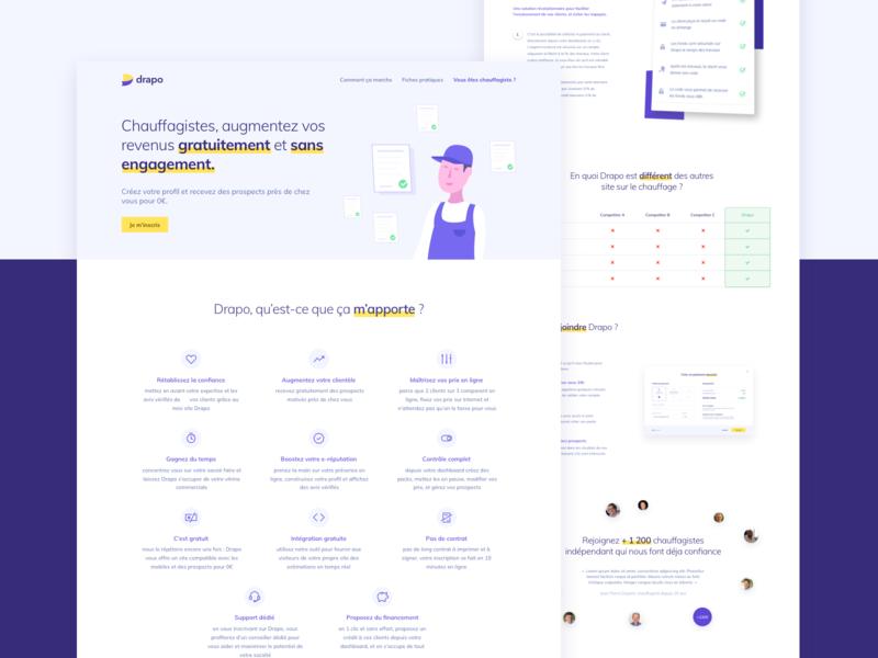 Marketplace landing - Pro's page webpage landing page landing heat marketplace ui interface webdesign purple yellow white