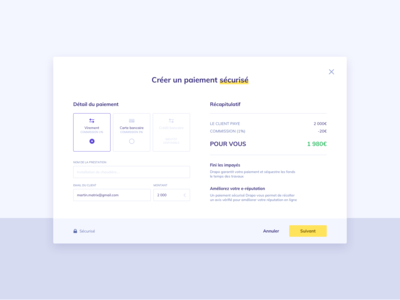 Payment method modal