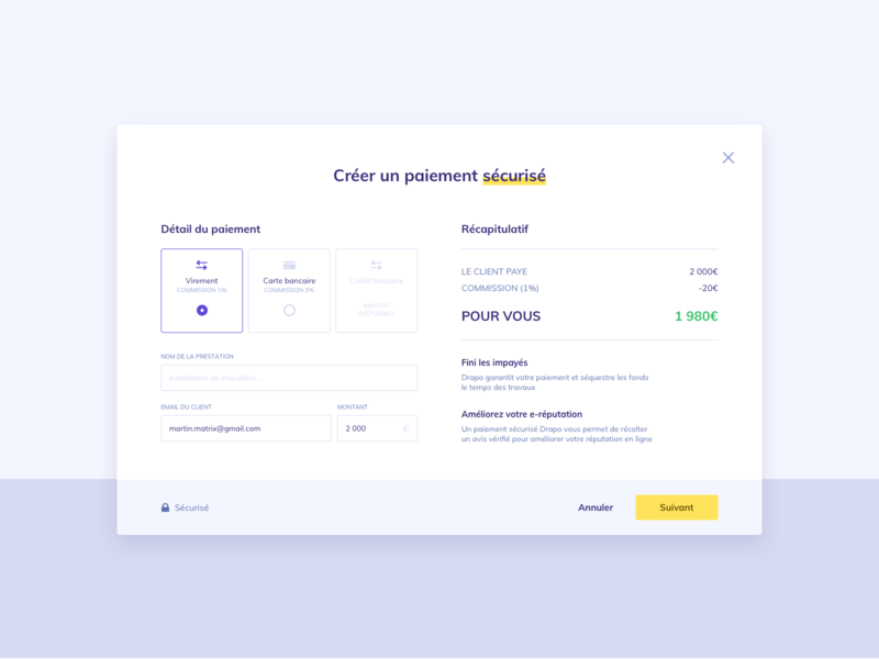 Payment method modal form transfer payment method payment yellow white purple webdesign interface