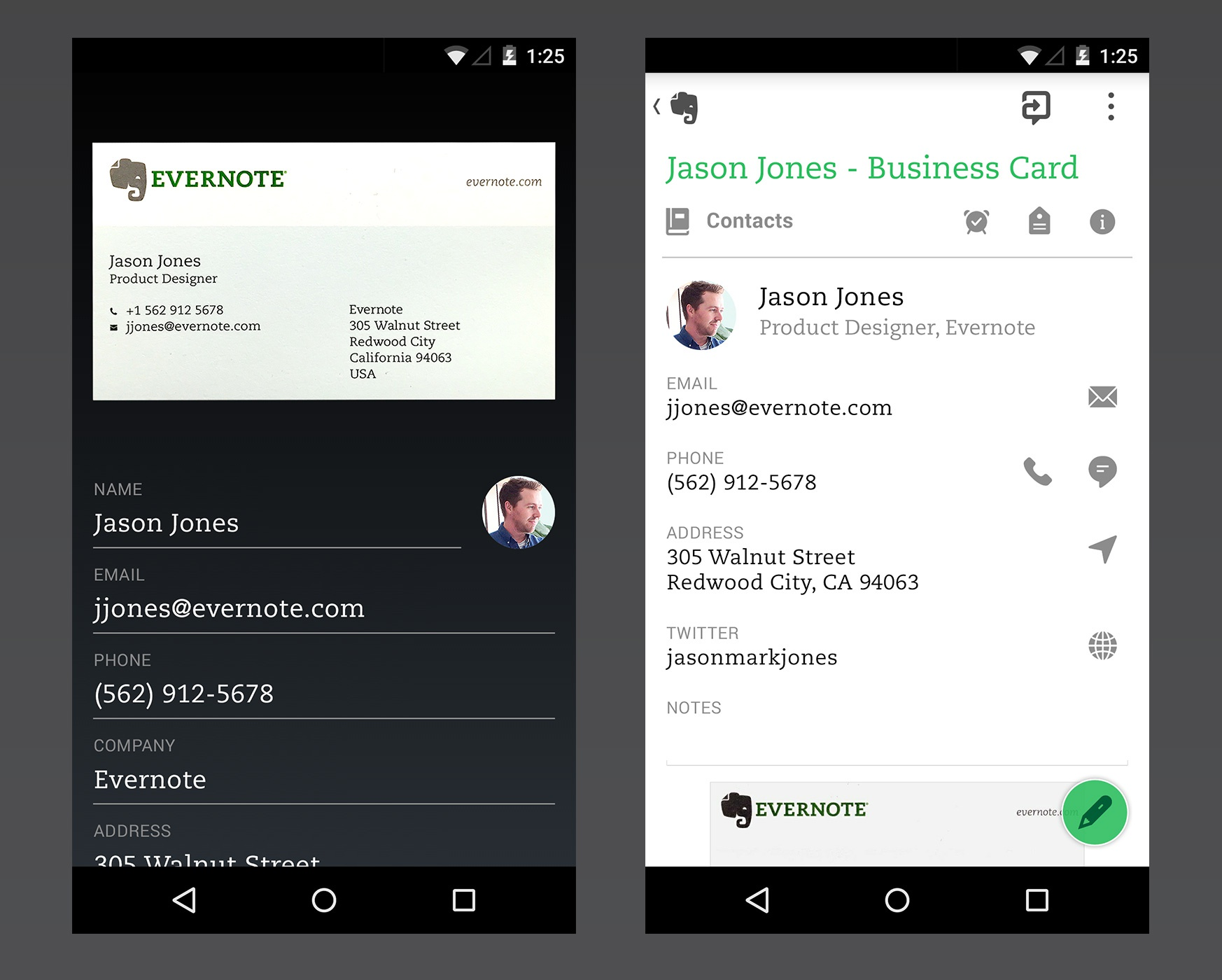 Evernote Business Card Notes