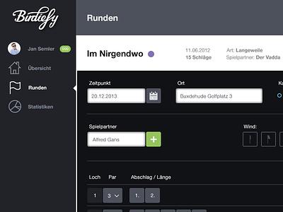 Birdiefy - Setup Rounds golf. interface web app dark flat ui indicator inputfield weather statistik