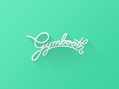 Gymbooth Logo gym fitness sports muscle script logo turquoise web mobile typography design