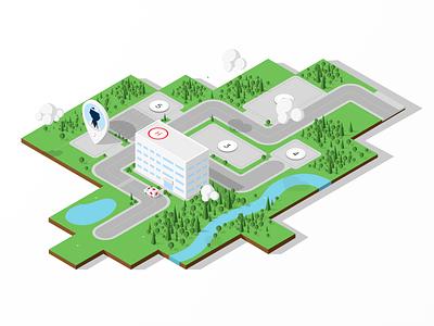 Isometric Hospital Campus blocks tree clouds details hospital flat ios app ortogonal isometric