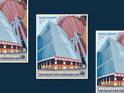 Preservation Chicago post modern poster illustration chicago