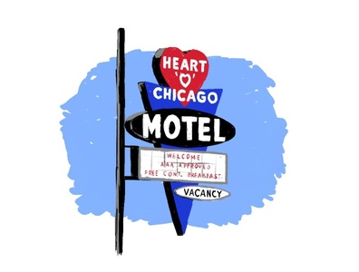 Heart O Chicago Motel neon sign midcentury mcm adobe fresco illustrator chicago