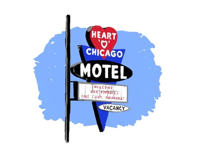 Heart O Chicago Motel neon sign midcentury mcm adobe fresco illustrator chicago