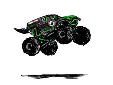 My hero adobe fresco monster jam grave digger illustration
