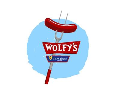 Wolfy's adobe fresco hot dog stand hot dog illustration chicago