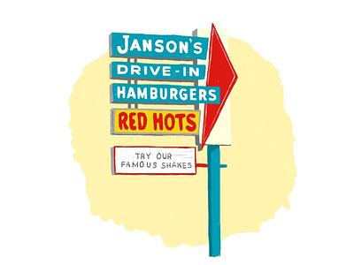 Janson's retro sign beverly adobe fresco illustration chicago