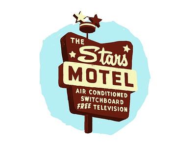Stars Motel adobe fresco illustration motel sign neon sign neon signage chicago