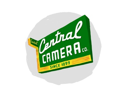 Central Camera adobe fresco camera supply neon sign neon illustration chicago