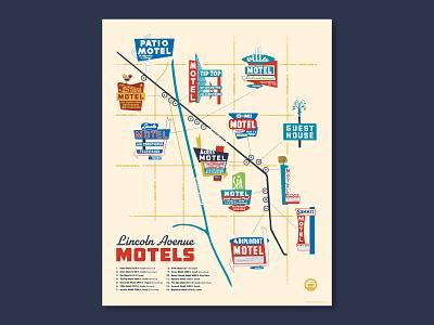 Lincoln Avenue Motels midcentury neon mcm map chicago illustration