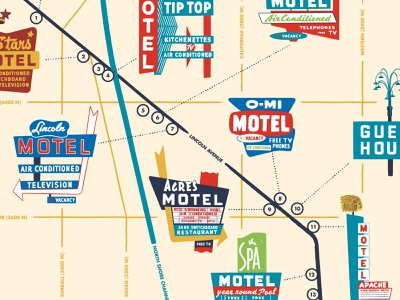 Lincoln Avenue Motels — Detail neon sign neon midcentury mcm map illustration chicago