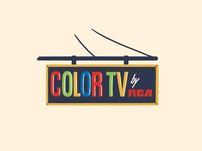 COLOR TV color tv mid century mcm illustration chicago