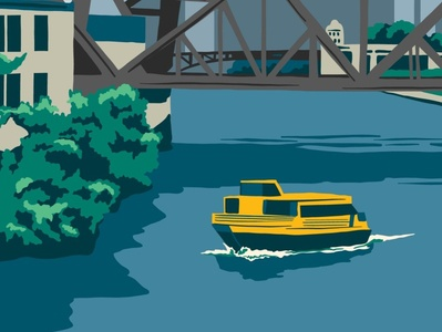 Taxiin' water boat chicago illustration