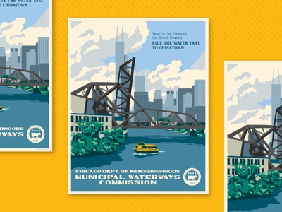 South Branch searstower boat river illustration chicago