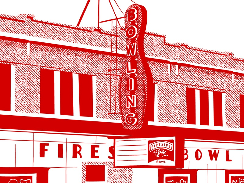 Fireside bowling crosshatch illustration