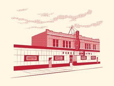 Fireside Bowl bowling screen print illustration chicago