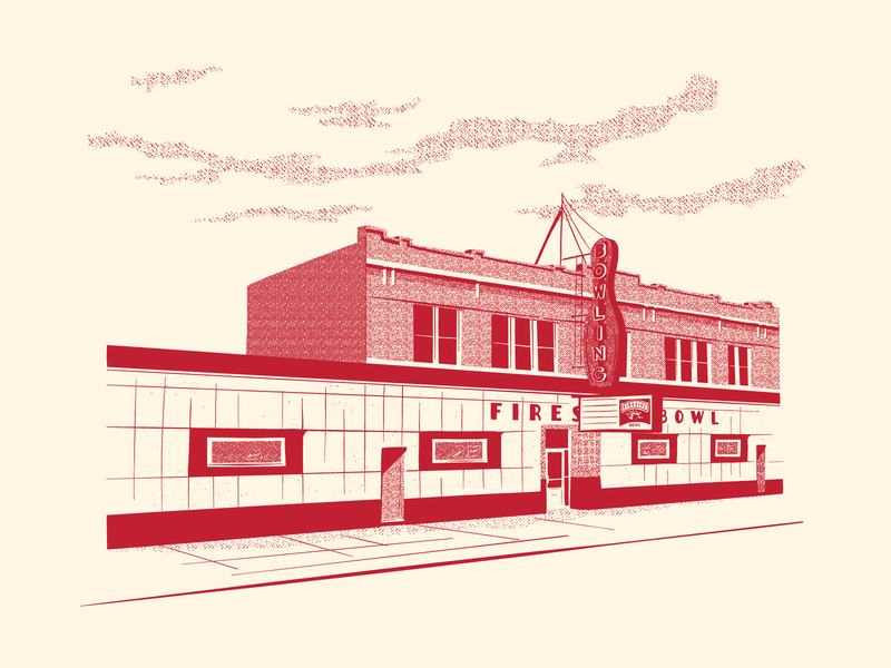 Fireside Bowl bowling screen print illustration chicago
