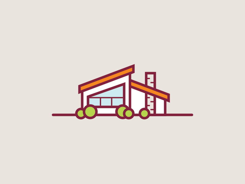 Mid-Century Modern House vector retro vintage dream house icon orange mid-century modern illustration building home house