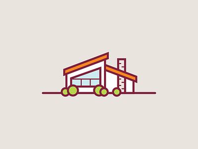 Mid-Century Modern House vector retro vintage dream house icon orange mid-century modern illustration building home house