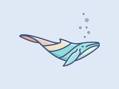Whale Illustration fin animal ocean bubbles underwater colorful whale