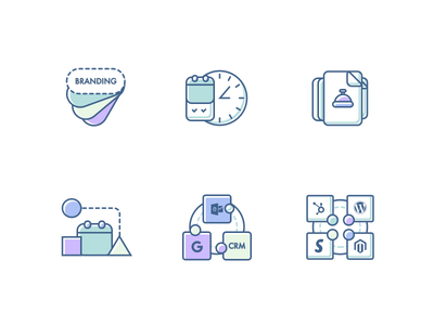 Appointment Icons Set 3 swatches shapes crm api alert bell appointment calendar clock features branding