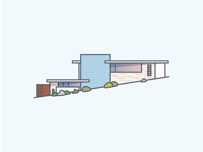 House On A Hill texture glass brick architecture hill diagonal modern mid-century illustration building home house