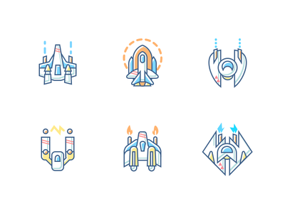 Spaceships ice freeze flame electric speeder bomber fighter icons icon starfighter spaceship space