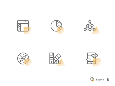 Black & Yellow Icon Set free freebie communication swatch compass direction shapes triangle marketing chart analytics website