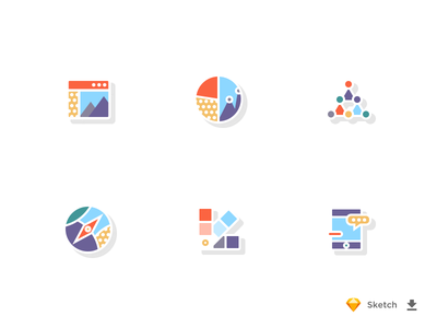 Colorful Icon Set website connections swatch phone marketing freebie free direction compass communication chart analytics