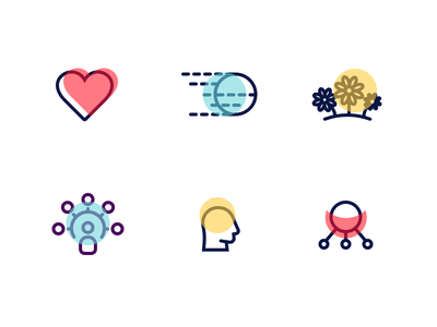 Collaboration Icons intelligent smart network happy field throw fast love heart collaboration