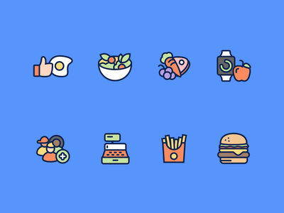 Cafe App Icons icons membership add apple apple watch cash register cafe meal fruit grapes carrot meat food burger fries watch salad egg like
