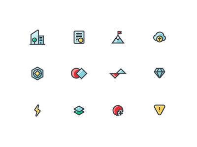 App Icons core add peak outcome milestone alert layers speed bolt diamond value reactor upload cloud mountain success application company building icons