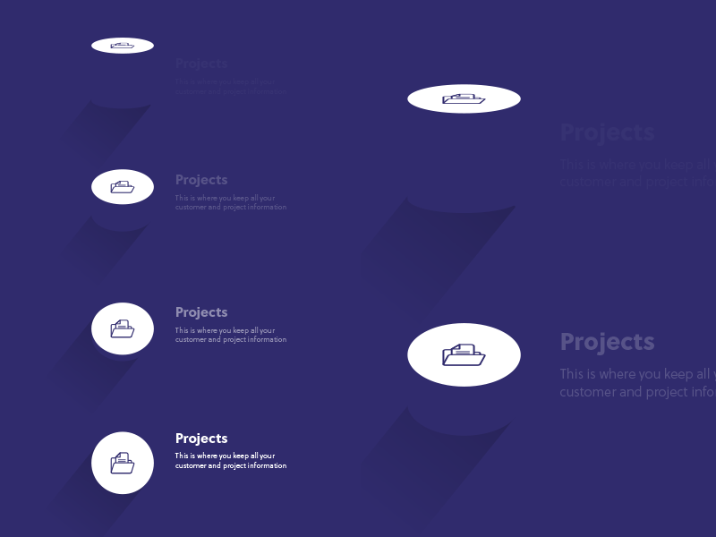 Landing page designs (experiments) icons colour landing page long shadow