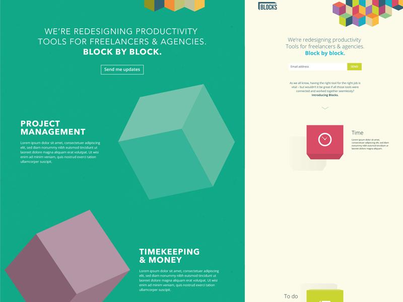 Blocks landing page ideas blocks logo branding colour landing page